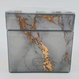 "Kassatex Faux Marble Swirl Cotton Jar 4"" Cube"